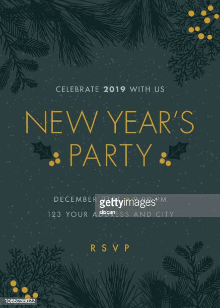 silvester party-einladungen - einladungskarte stock-grafiken, -clipart, -cartoons und -symbole