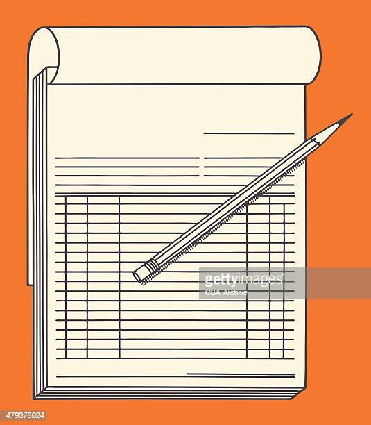 invoice and pencil - accounting ledger stock illustrations, clip art, cartoons, & icons