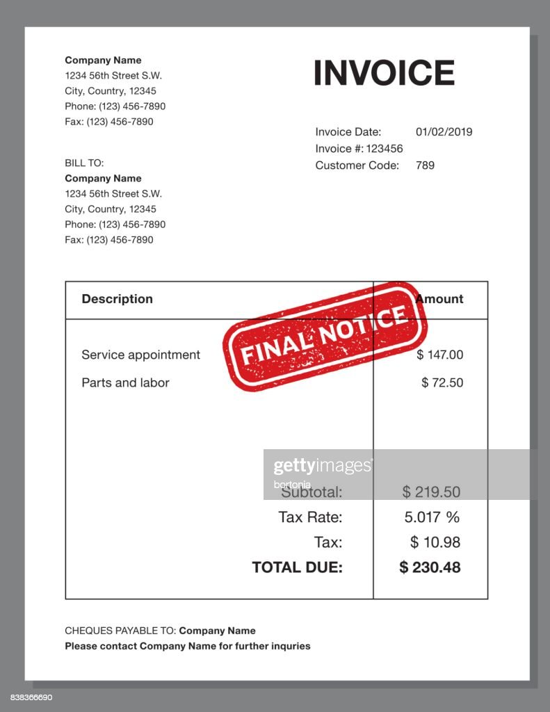 Invoice Design Template With Stamp Impression Vector Art Getty Images