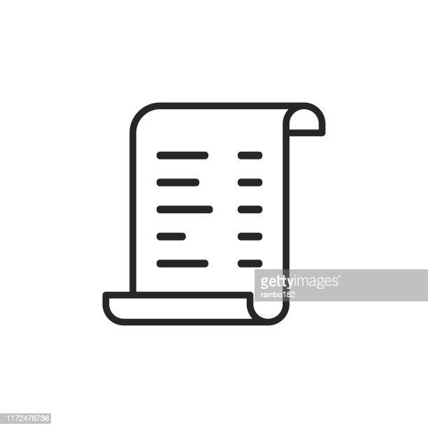invoice line icon. editable stroke. pixel perfect. for mobile and web. - receipt stock illustrations