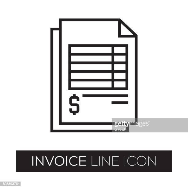 ilustrações, clipart, desenhos animados e ícones de ícone de linha de factura - recibo