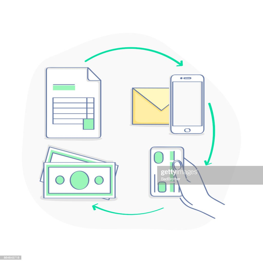 Invoicing and payment online illustration concept