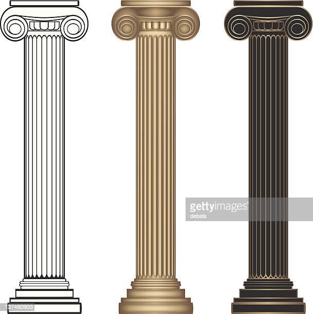 ionic columns - greek culture stock illustrations