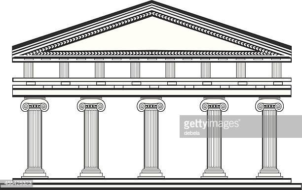 ionic temple - temple building stock illustrations, clip art, cartoons, & icons
