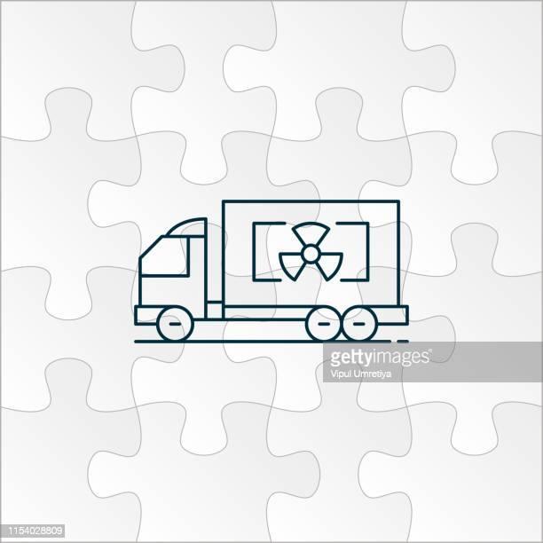 ionizing radiation on truck - uranium stock illustrations