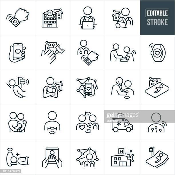 illustrazioni stock, clip art, cartoni animati e icone di tendenza di iot nelle icone della linea sottile nel settore sanitario - tratto modificabile - sensore