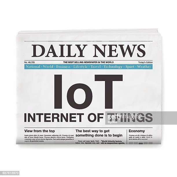 IoT - Internet of Things Headline. Newspaper on White Background