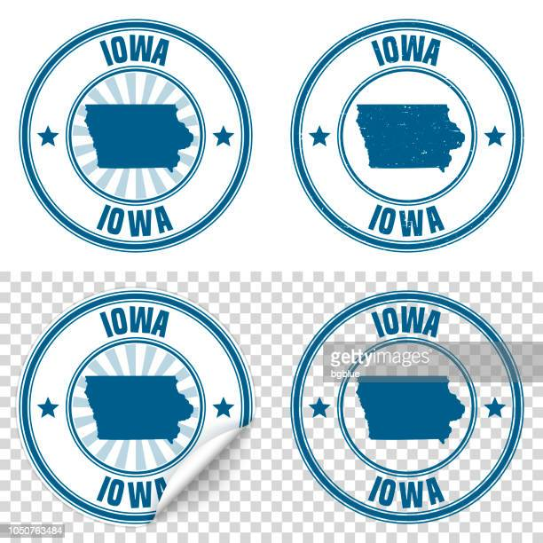 Iowa - Blue sticker and stamp with name and map