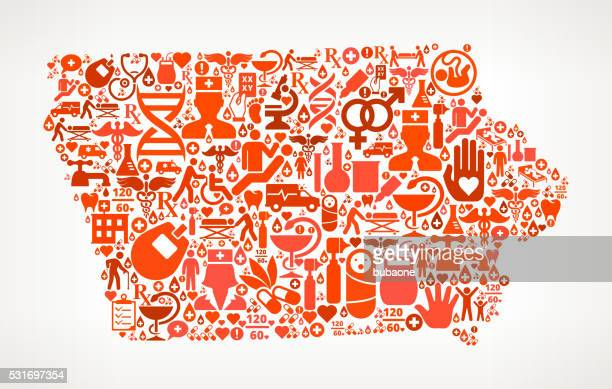 iowa healthcare and medical red icon pattern - cardiac conduction system stock illustrations