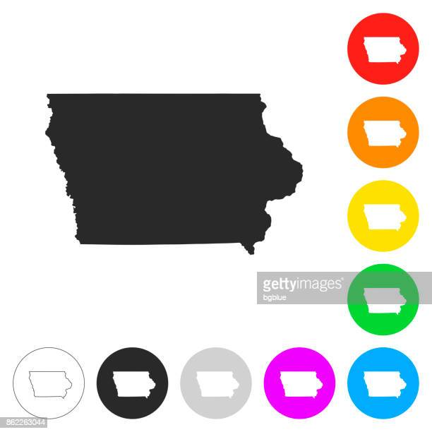 iowa map - flat icons on different color buttons - iowa stock illustrations