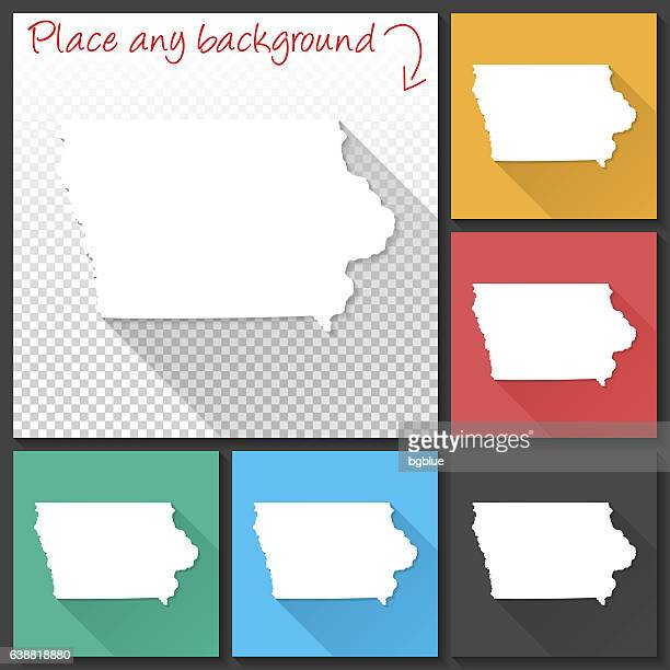 Iowa Map for design, Long Shadow, Flat Design