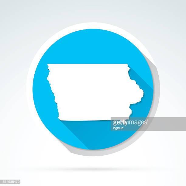 Iowa map icon, Flat Design, Long Shadow
