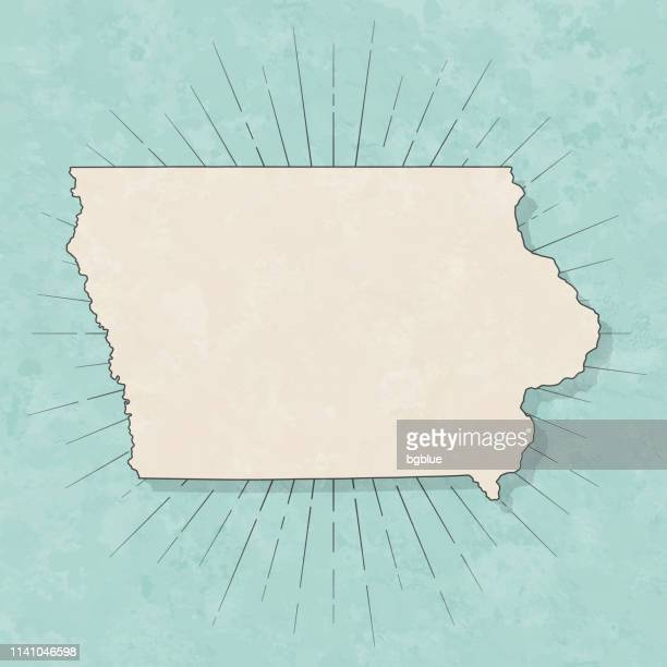 iowa map in retro vintage style - old textured paper - iowa stock illustrations