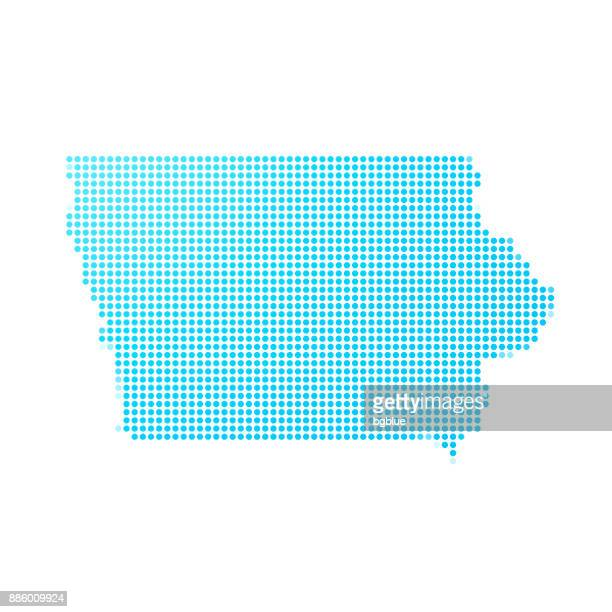Iowa map of blue dots on white background