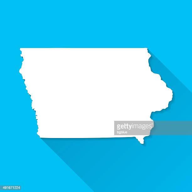Iowa Map on Blue Background, Long Shadow, Flat Design