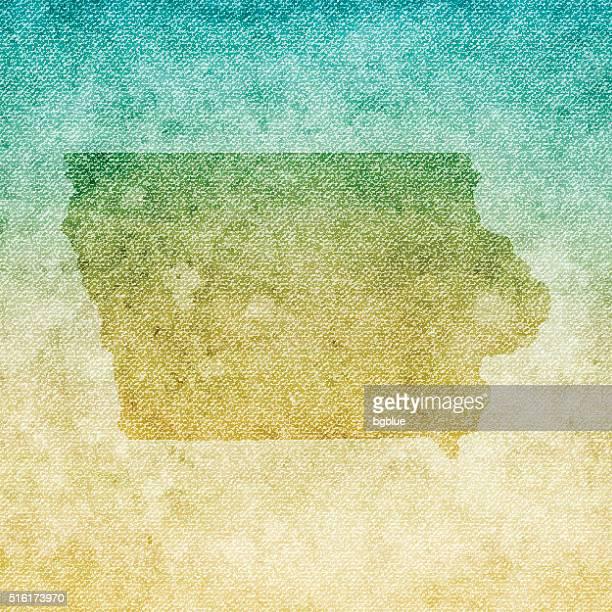 Iowa Map on grunge Canvas Background