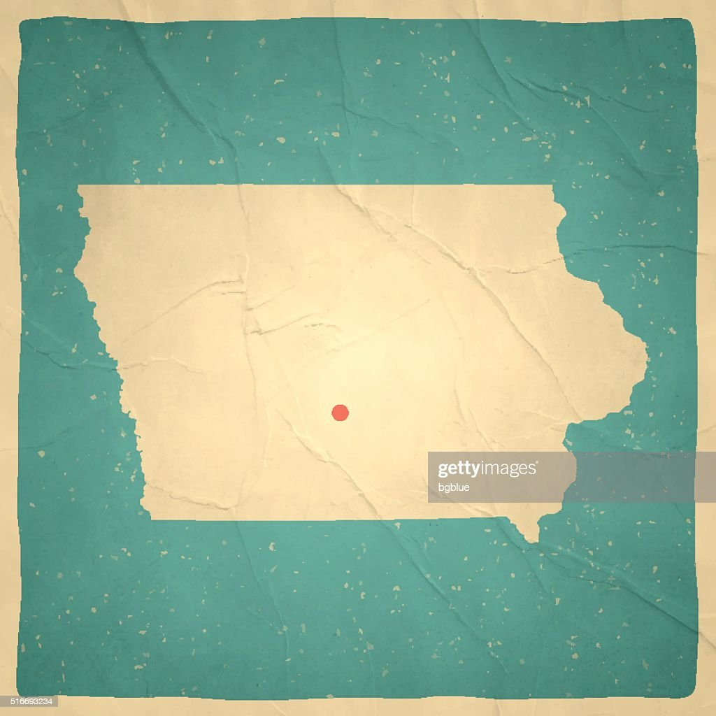 Iowa Map On Old Paper Vintage Texture Vector Art Getty Images - Vintage iowa map