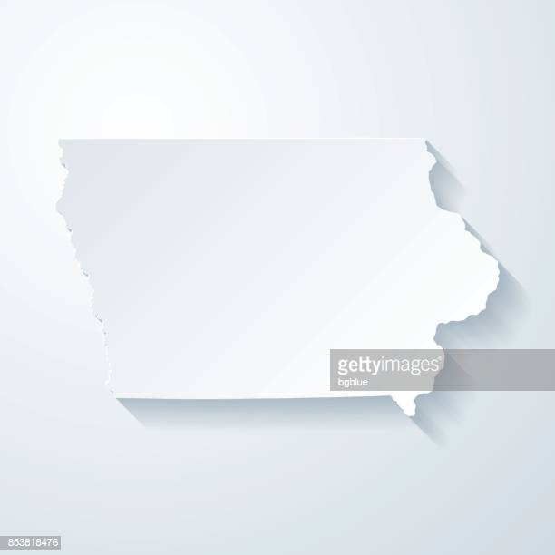 Iowa map with paper cut effect on blank background