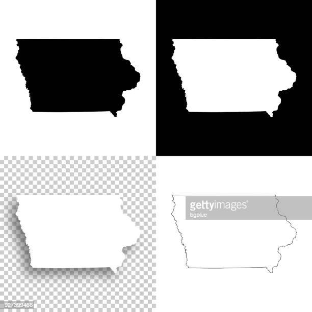 iowa maps for design - blank, white and black backgrounds - iowa stock illustrations