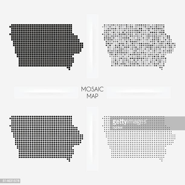 Iowa maps - Mosaic squarred and dotted