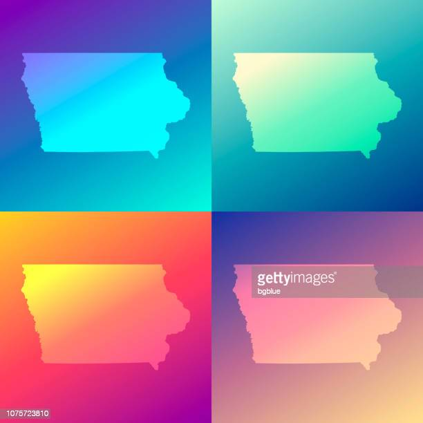 Iowa maps with colorful gradients - Trendy background