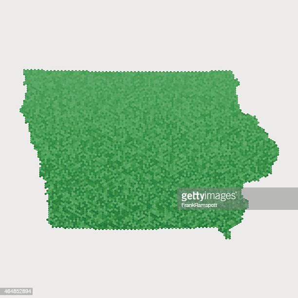 Iowa State Map Green Hexagon Pattern