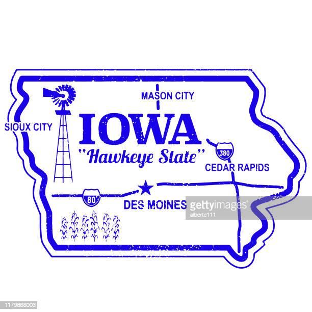 アイオワ州ヴィンテージ旅行スタンプ - シダーラピッズ点のイラスト素材/クリップアート素材/マンガ素材/アイコン素材