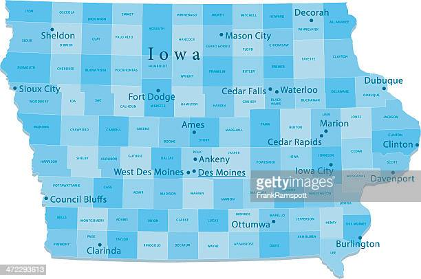 Iowa Vector Map Regions Isolated