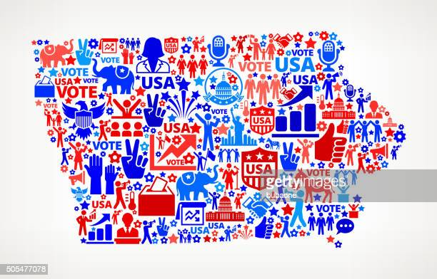 Iowa Vote and Elections USA Patriotic Icon Pattern