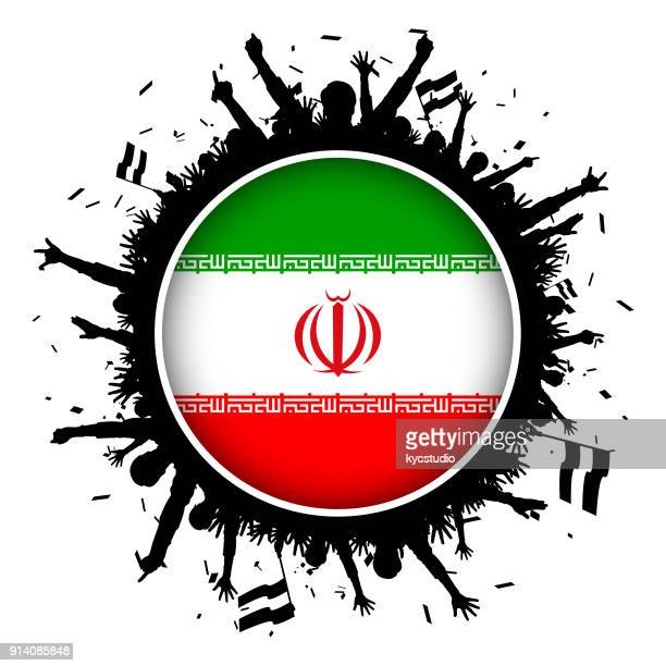 Iran button flag with soccer fans 2018