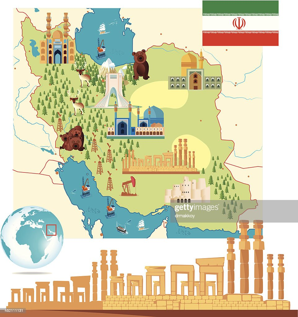 Iran Cartoon Map High Res Vector Graphic Getty Images