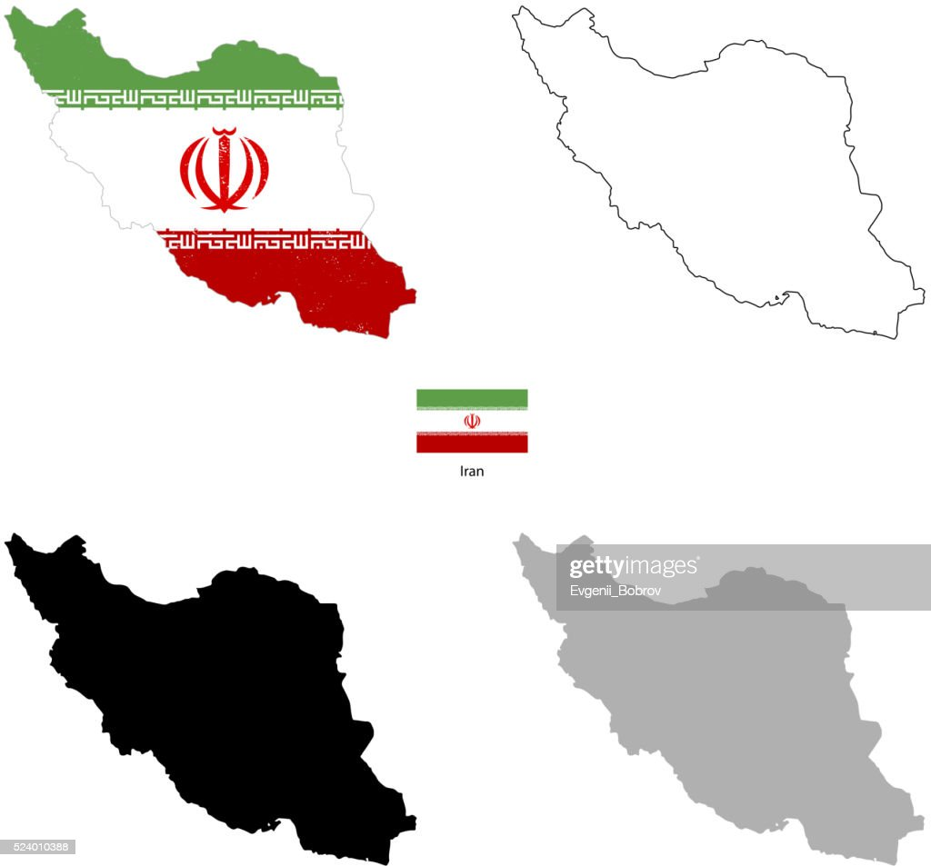 Iran country black silhouette and with flag on background