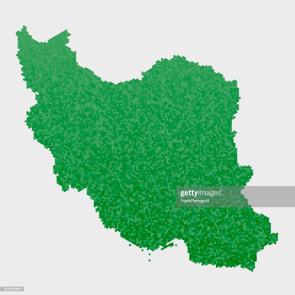 Iran-Land-Map-grünen Sechseck-Muster : Vektorgrafik