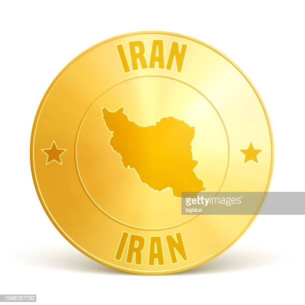 iran - gold coin on white background - white gold stock illustrations