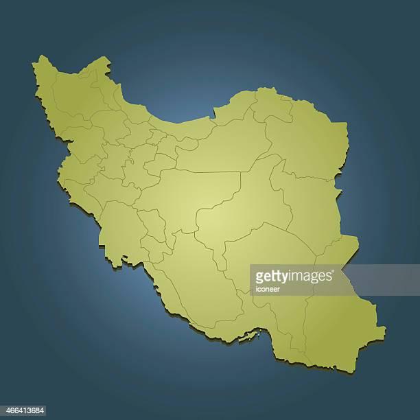 iran green travel karte auf dunkel blauem hintergrund - iran stock-grafiken, -clipart, -cartoons und -symbole
