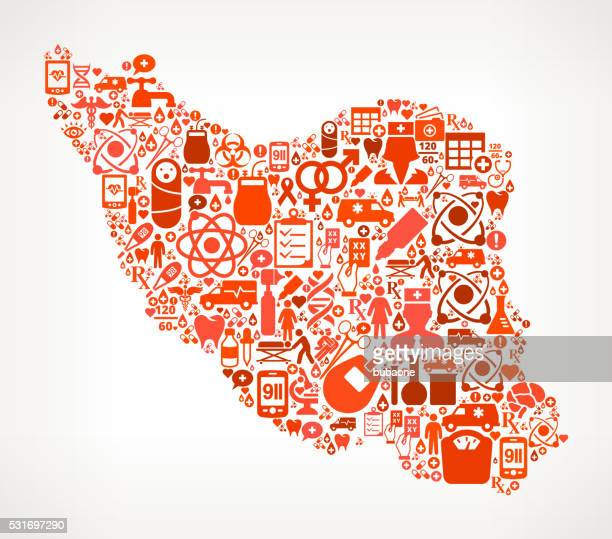 iran healthcare and medical red icon pattern - cardiac conduction system stock illustrations