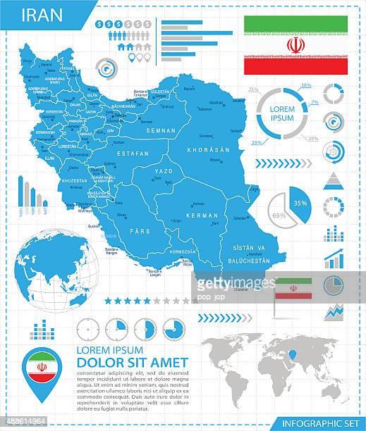 iran-infografik karte-illustration - iran stock-grafiken, -clipart, -cartoons und -symbole