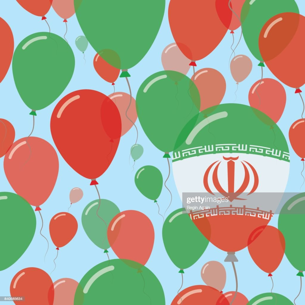Iran, Islamic Republic Of National Day Flat Seamless Pattern. Flying Celebration Balloons in Colors of Iranian Flag. Happy Independence Day Background with Flags and Balloons.