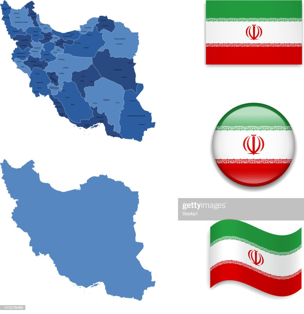 Iran Map and Flag Collection