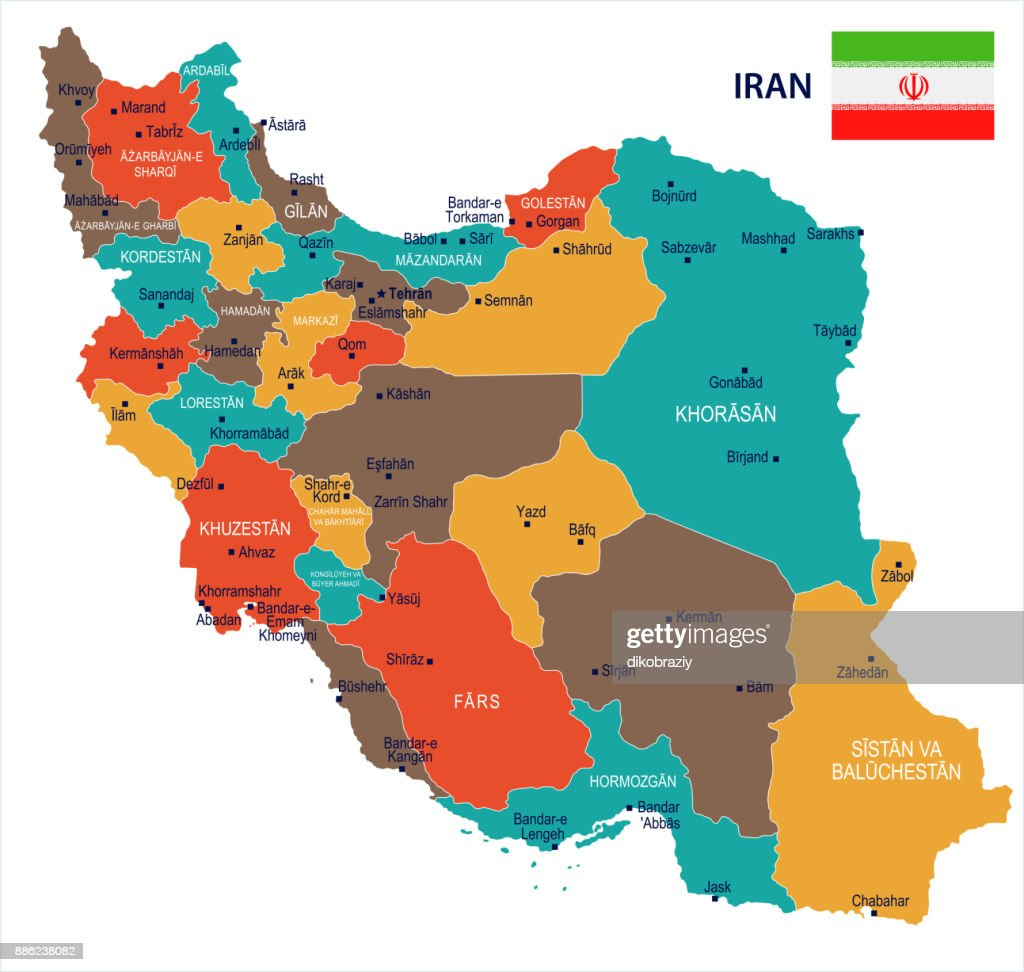 Iran - map and flag Detailed Vector Illustration