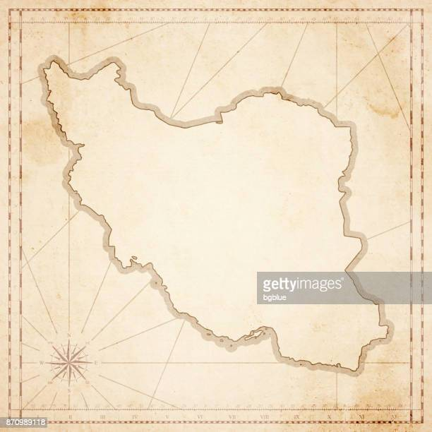 Iran map in retro vintage style - old textured paper