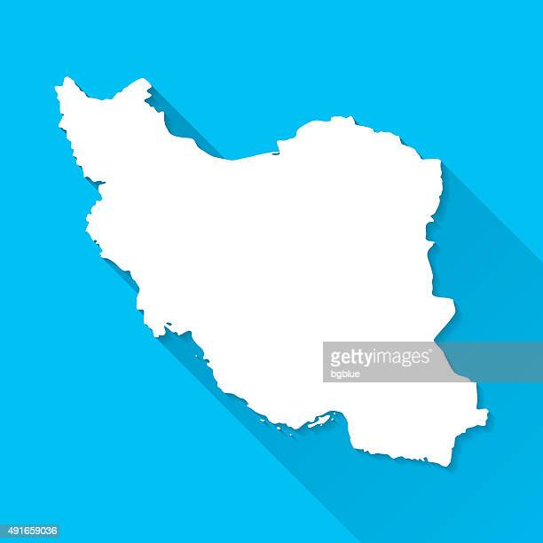 Iran Map on Blue Background, Long Shadow, Flat Design