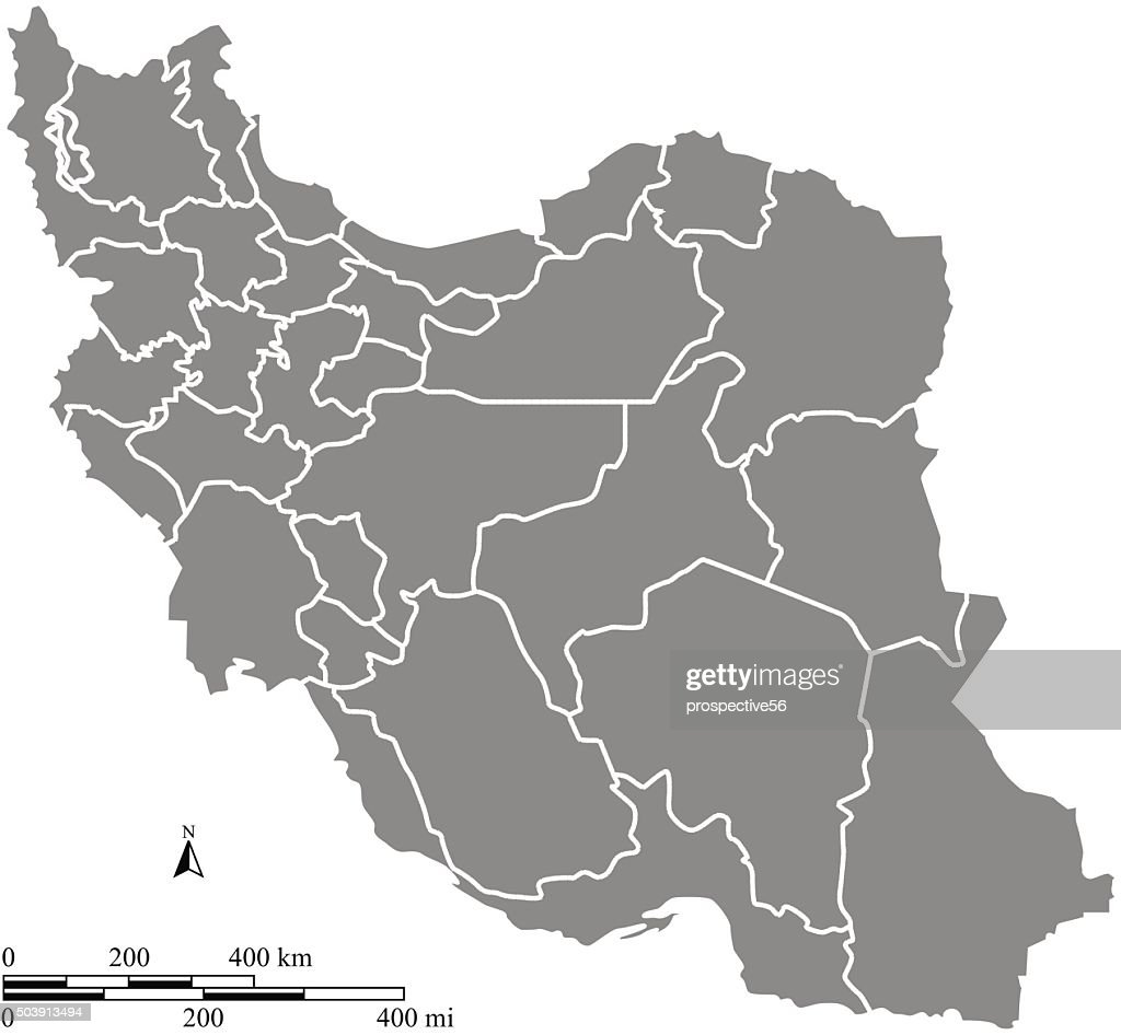 Iran map outline vector with scales of miles and kilometers