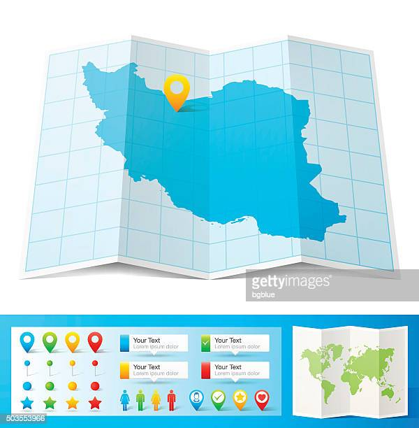 Iran Map with location pins isolated on white Background