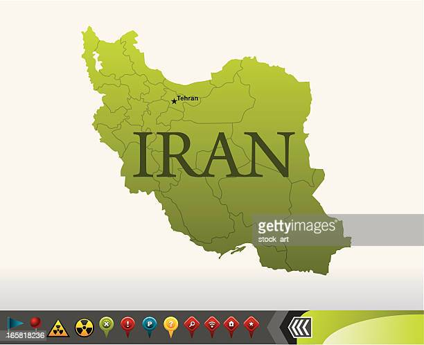 iran map with navigation icons - iran stock illustrations