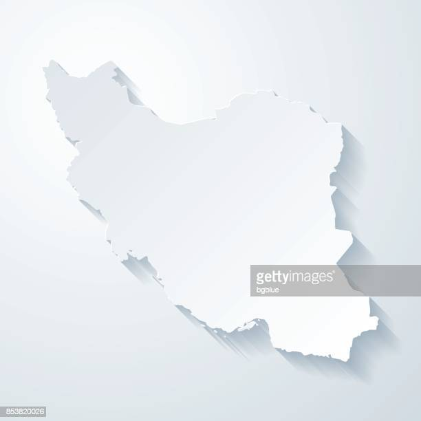 Iran map with paper cut effect on blank background