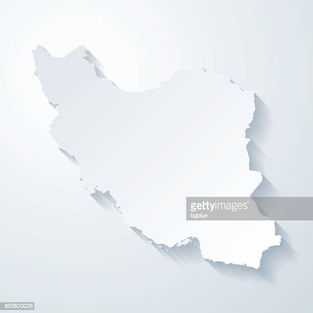 iran-karte mit papier geschnitten wirkung auf leeren hintergrund - iran stock-grafiken, -clipart, -cartoons und -symbole