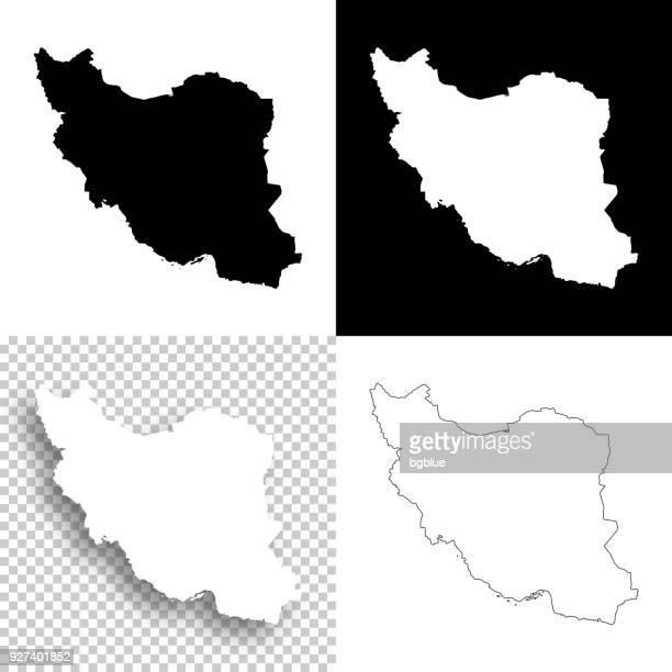 iran-karten für design - leere, weiße und schwarze hintergründe - iran stock-grafiken, -clipart, -cartoons und -symbole