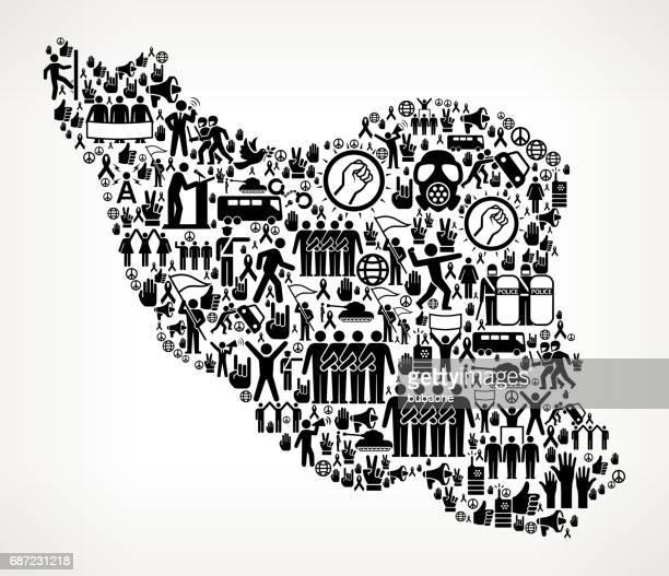 iran protest und bürgerrechte vector icons hintergrund - iran stock-grafiken, -clipart, -cartoons und -symbole