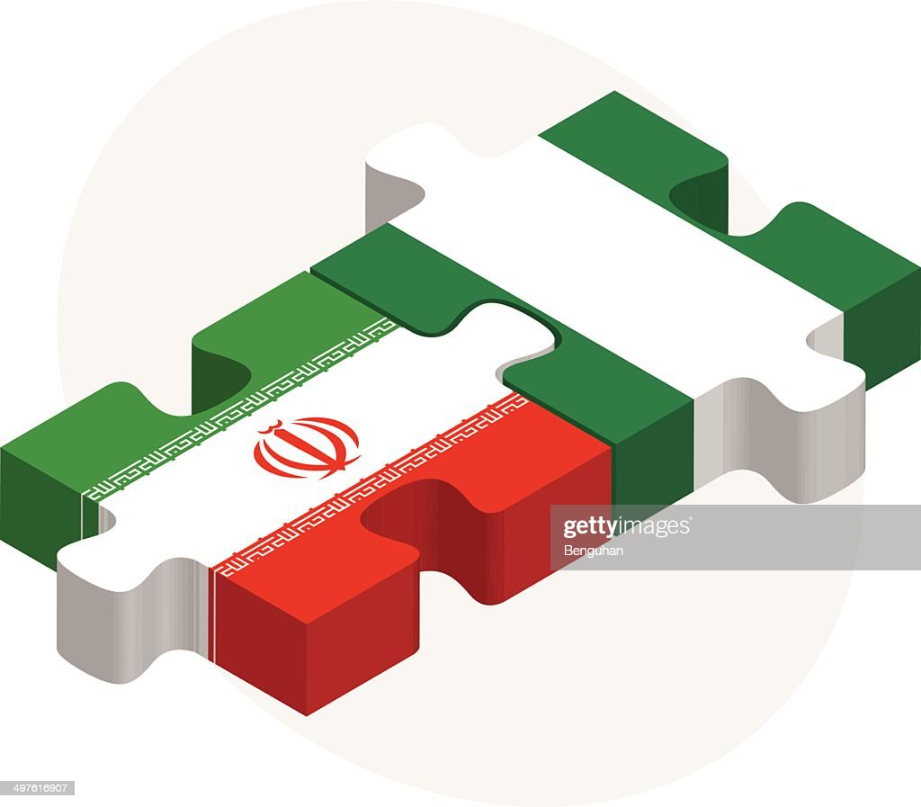 Iranian and Nigerian Flags in puzzle